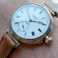What an amazing example of early wristwatch design. First dating back to this is a later example from 1929 borgel style case loaded via screwing the complete movement from the front. Porcelain original dial made by for London. Retro Watches, Antique Watches, Vintage Watches For Men, Cool Watches, Mature Mens Fashion, Diesel Watches For Men, Latest Watches, Bracelet Cuir, Beautiful Watches