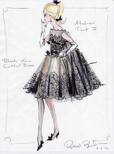 "Robert Best Barbie ""Atelier Black Lace Dress Rough Sketch"" Fashion Print 8x10 | eBay"