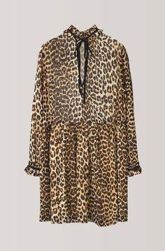 Fairfax Georgette Mini Dress, Leopard