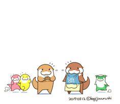 Otter Cartoon, Cute Illustration, Otters, Kawaii, Comics, Wallpaper, Anime, Illustrations, Twitter