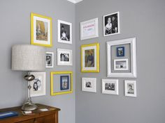 easy gallery wall - like the small frames hanging inside the larger empty frames