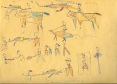 Children's Drawings from Darfur. The children's drawings show the invasion of their homes by gunmen.The drawings are part of a program in New Jersey to inform school students of genocide by listening to survivors and promising to tell the story to other people.
