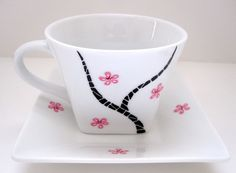 Cherry Blossom Tree Teacup and Saucer by SwirlyGarden on Etsy, $25.00