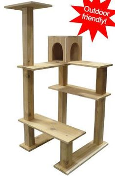Cedar Outdoor Crystal Tower Cat Tree - Outdoor Cat Condo