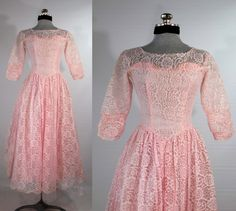 Vintage+1950s+pink+prom+dress+formal+gown+brides+maid+party+dress+evening+dress+size+small+by+VintageRoseTattoo+on+Etsy
