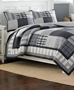 A patchwork design in a cool color scheme makes this Gunston reversible quilt suitable for a variety of bedroom styles. Crafted with pure cotton, this grey, black and white quilt is machine washable and can be accented with matching Nautica shams. Colchas Quilt, Man Quilt, Boy Quilts, Quilt Bedding, Bedding Sets, Flannel Quilts, Plaid Quilt, Grey Quilt, Quilts Online
