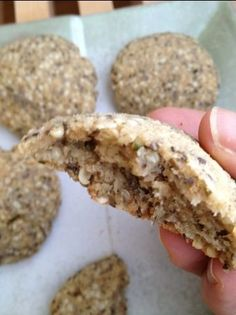 Hemp Seed Chia Coconut Breakfast Cookies   ~~~~   Ground Hemp Seeds, Chia Seed, Shredded Coconut, eggs, coconut flour, coconut oil, cinnamon ginger, sea salt, maple syrup.