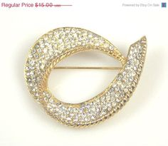 On Sale Vintage Pave Set Rhinestone Brooch by TheFashionDen