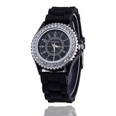 Colorful Silicon Links Band Watch Rhinestone Accent Dial Wristwatch Women