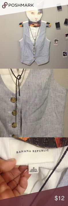 Banana republic vest Super cute banana republic vest with small blue pinstripes. Size 8. Adjustable back. Lining is 100% cotton. Brand new Banana Republic Tops