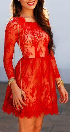 Scarlet Red Lace Dress ♥ L.O.V.E.