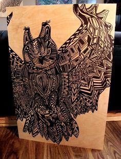 Owl Zentangle- Oil/acrylic Paint/raw Birch-34'' X 30''- Artist- Ig @stephendferris