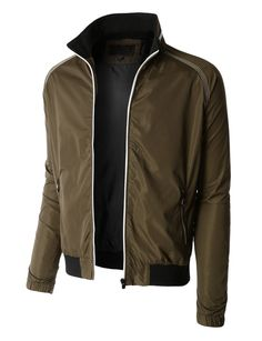 Mens Lightweight Windbreaker Fully Lined Zip Up Bomber Jacket ...