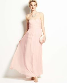Silk Georgette Shirred Strapless Gown | Ann Taylor | $365