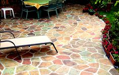 Concrete acid stain - all different patterns and colors with idea photos.  So fun! #ad