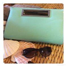 Envelope Clutch converts to Crossbody Bag NWT Mint shiny envelope clutch! Great for spring/summer events!  7 in height 12 in length 3 in wide inside the purse. #no trades Bags Crossbody Bags
