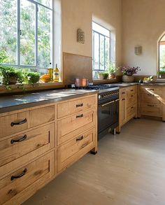 33 + The Birth of Farmhouse Kitchen Renovation Ideas - thehomedecores Modern Farmhouse Kitchens, Rustic Kitchen, Home Kitchens, Eclectic Kitchen, New Kitchen Cabinets, Kitchen Redo, Upper Cabinets, Kitchen Ideas, Natural Wood Kitchen Cabinets