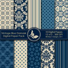 Vintage Blue Damask This listing is for 10 printable High Quality Digital papers. Each paper measures 12 x 12 inch, 300 DPI, JPEG format. Great for scrapbooking, making cards, invitations, tags and photographers.