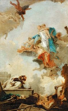 Tiepolo, Giovanni Battista - La Vierge du Carmel apparaissant a Saint Simeon Stock. Lived in Kent as a hermit in a tree-trunk, hence the name. General of the Carmelite order 1265. Apparition of the Virgin 1251 (?). She gave him a scapula and promised, that every wearer would be assured of salvation. Canvas, 1720-22 RF 1983-44