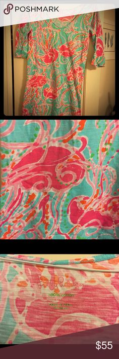 Lilly Pulitzer Cotton Dress 100% cotton beachy dress with fun jellyfish print. 3/4 sleeve. Only worn a few times. Size Small. I am 5-6 and it hits above the knee. Lilly Pulitzer Dresses Mini