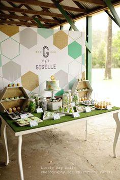 Geometric Green, Gold, and Grey Themed Birthday Party with So Many Fabulous Ideas via Kara's Party Ideas KarasPartyIdeas.com