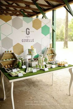 Geometric Green, Gold, and Grey Themed Birthday Party with So Many Fabulous Ideas via Kara's Party Ideas KarasPartyIdeas.com