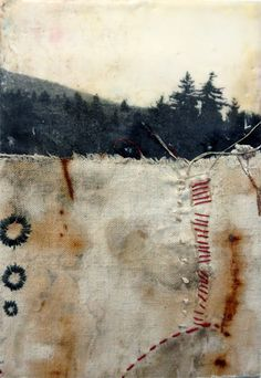 """The land know"" - mixed media - encaustic, fabric and thread"