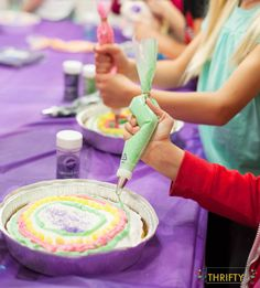 I love this birthday party idea for girls! CAKE WARS! Each girl decorates their own cake, but the best part, there are instructions on how to bake 3 cakes per cake mix!