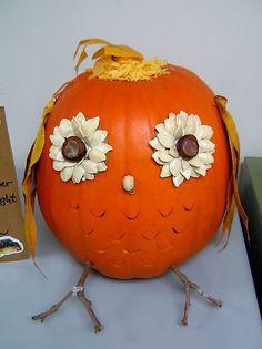 No Carving Owl Pumpkin Pinned by www.myowlbarn.com
