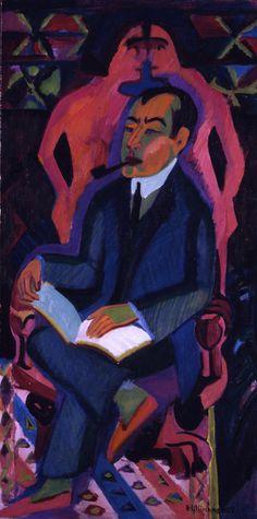 Ernst Ludwig Kirchner - Portrait of Art Dealer - Manfred Shames, 1932 Ernst Ludwig Kirchner, Davos, Ludwig Meidner, Karl Schmidt Rottluff, Modern Art, Contemporary Art, George Grosz, Degenerate Art, Colors