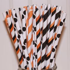 Paper Straws HALLOWEEN PARTY MIX, 60 Orange and Black Striped Paper Straws, Halloween, Party, Sodas, Beverage