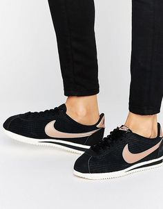 Nike Classic Cortez Leather Luxe Trainers In Black And Metallic Bronze at  asos.com bd0cbc48ab0