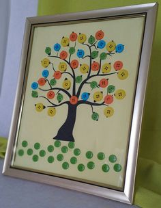 The Tree of Life8 x 10 Multi Color Button by ThePinkElephantShopp