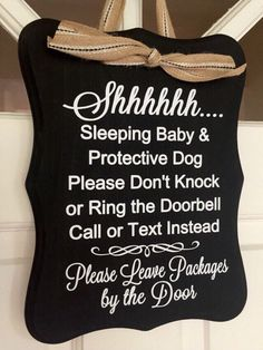 No Soliciting Baby Sleeping and Protective Dog Door Sign, Baby Sleeping Sign, Protective Dog Sign, No Soliciting, Vinyl Sign, Door Sign by hazelandbirdie on Etsy https://www.etsy.com/listing/263051941/no-soliciting-baby-sleeping-and