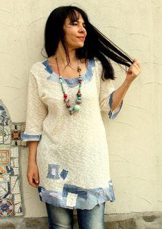 Jeans en denim dété L-XL pull appliqued boho hippie par jamfashion