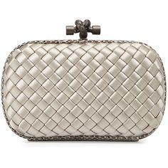 Bottega Veneta Knot Satin Oval Minaudiere w/Snake Trim ($1,450) ❤ liked on Polyvore featuring bags, handbags, clutches, light gray, bottega veneta, bottega veneta purse, satin handbags, woven purse and satin purse