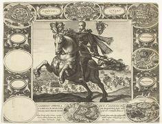 Esaias van den Bossche   Ambrosius Spinola te paard; slag bij Oostende op de achtergrond, Esaias van den Bossche, Petrus Overraat, c. 1600 - c. 1620   Ambrosius Spinola in volle wapenrusting, te paard, naar links. Op de achtergrond de slag bij Oostende. De voorstelling is gevat in een ornamentomlijsting met cartouches waarin de namen en de plattegronden van de volgende steden: Oldenseel, Lingen, Wachtendonk, Krakau, Lochum, Grolia. Vier cartouches zijn leeg.