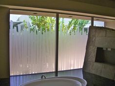 Something like this would enable us to see out of the bathroom without losing privacy... Bathroom Window Privacy, Bathroom Window Glass, Bathroom Window Treatments, Window In Shower, Bathroom Windows, Glass Shower Doors, Sliding Glass Door, Glass Doors, Bathroom Interior