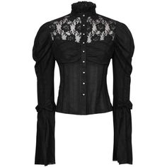 Rodney Gothic Top with Long Sleeve (£35) ❤ liked on Polyvore featuring tops, lace up top, lace up front long sleeve top, sleeve top, formal tops and gothic tops