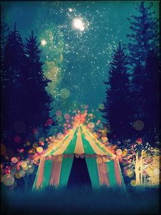 Magical tent at the circus. Have you read The Night Circus by Erin Morgenstern? It's an amazing book full of mystery, magic and circus. Night Circus, Big Top, Foto Art, Vintage Circus, Belle Photo, Pretty Pictures, Art Photography, Night Photography, Illustration Art