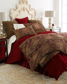 Isabella Collection by Kathy Fielder King Kiera Red & Gold Duvet Cover, x Bedroom Red, Home Bedroom, Bedroom Decor, Bedroom Hacks, Warm Bedroom, Master Bedrooms, Bedroom Colors, Bedroom Ideas, Luxury Bedding Collections