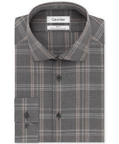 cb7683d813a7 Calvin Klein STEEL Non-Iron Performance Slim-Fit Tan Multi-Check Dress Shirt  & Reviews - Dress Shirts - Men - Macy's