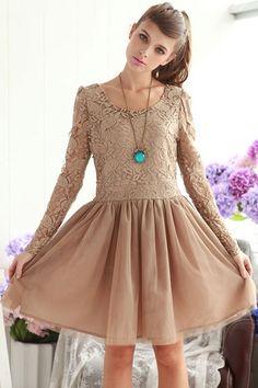 Vintage Lace Bodice Mesh Skirt Long Sleeve Dress OASAP.com