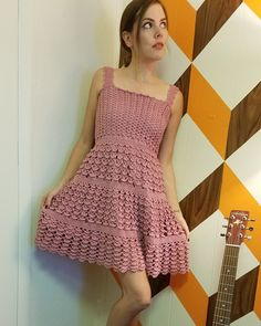 Etsy の vintage 50's 60's crochet dress prom by DitzyDaizyVintage
