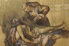 Aarreaitta. Kohtaamisia. Näyttelykierros: Faces of Christ. Suomen ortodoksinen kirkkomuseo RIISA. Henna Hietainen. (James Langley: Luonnos Kristuksen kärsimyshistoria -sarjaan, 2012.)