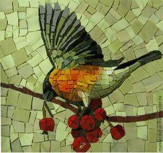 Купить птицы смальта - птицы, панно, мозаика, снегирь, Рябина, синица, смальта, панно в интерьер