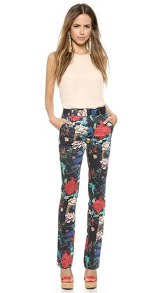 alice + olivia High Waisted Floral Pants
