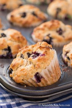 This recipe for Blueberry Muffins is buttery and moist, great for breakfast or anytime snack.
