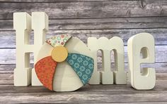 """Summer Beach Ball - August """"HOME"""" Interchangeable """"O"""" Wood Decor by ScrapHappyPagesStore on Etsy"""