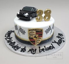 Great with all the car logos round the outside Birthday Cakes For Men, Car Cakes For Men, Birthday Cake For Husband, Lamborghini Cake, Cars Cake Design, Bmw Cake, Cars Theme Cake, Cake For Boyfriend, 50th Cake